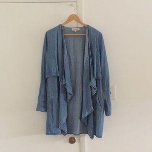 Chambray Denim Poncho/Coat with Pockets